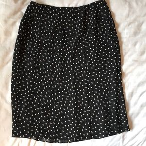 Black lightweight lined skirt with cream dots